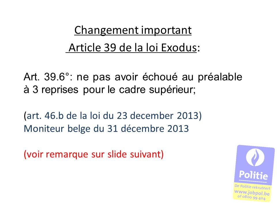 Article 39 de la loi Exodus: