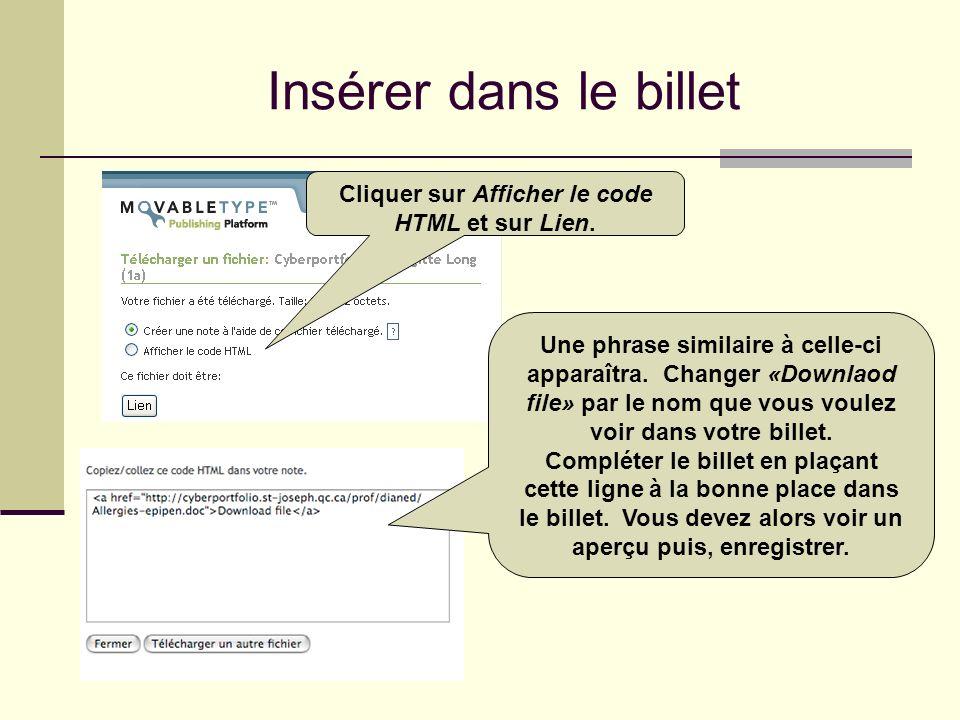 Cliquer sur Afficher le code HTML et sur Lien.