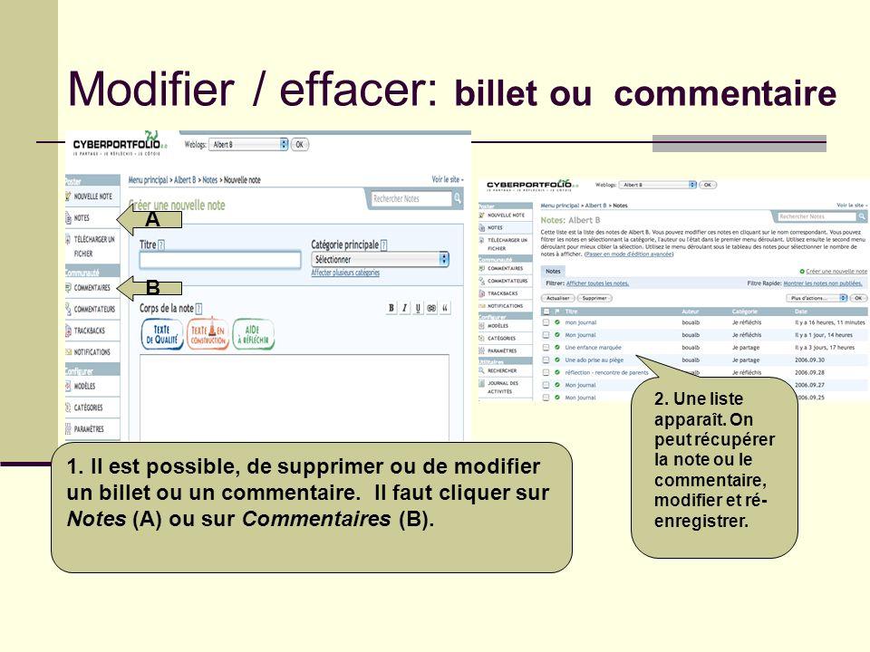 Modifier / effacer: billet ou commentaire