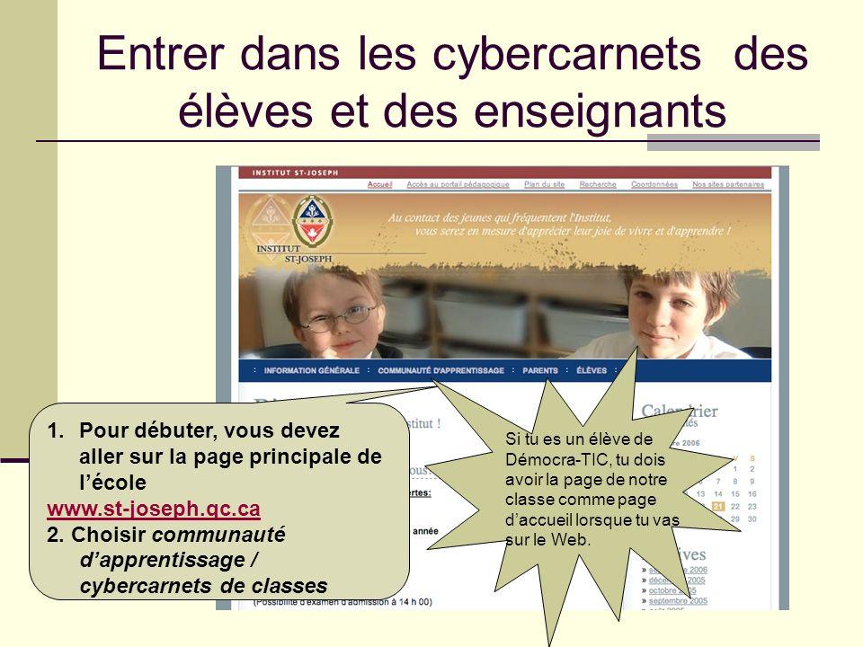 Entrer dans les cybercarnets des élèves et des enseignants