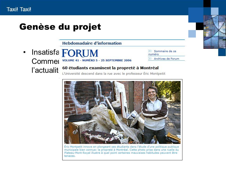 Genèse du projet Insatisfaction avec le travail précédent – Commentaire sur un article de journal tiré de l'actualité.