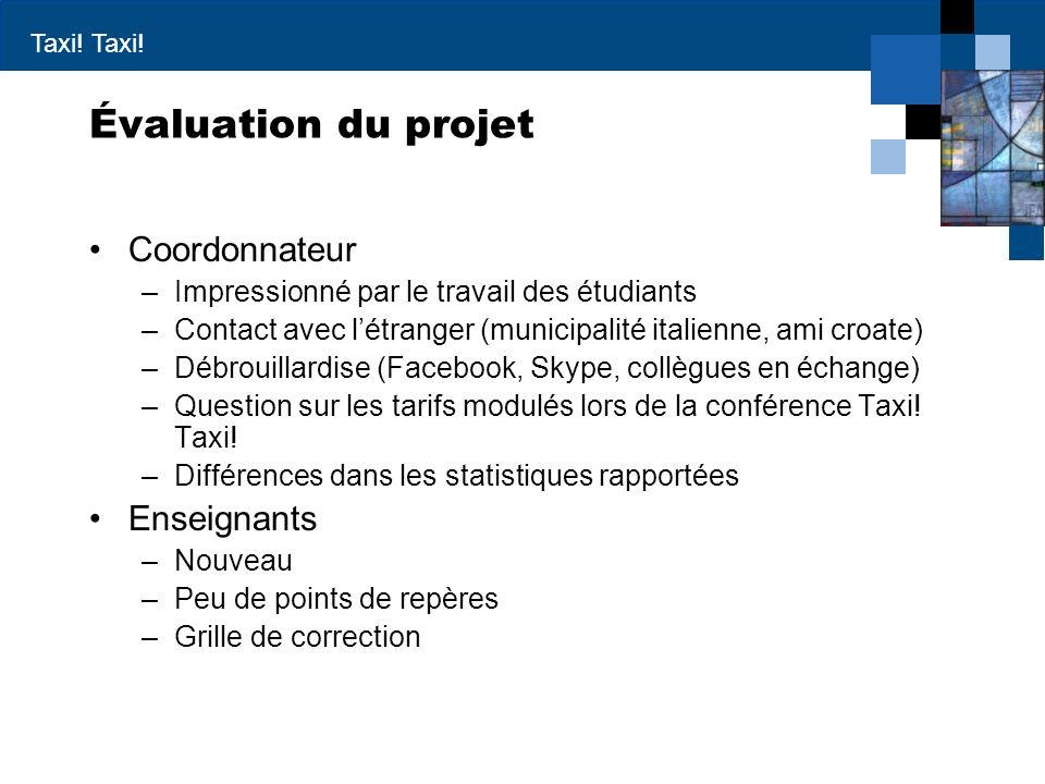 Évaluation du projet Coordonnateur Enseignants