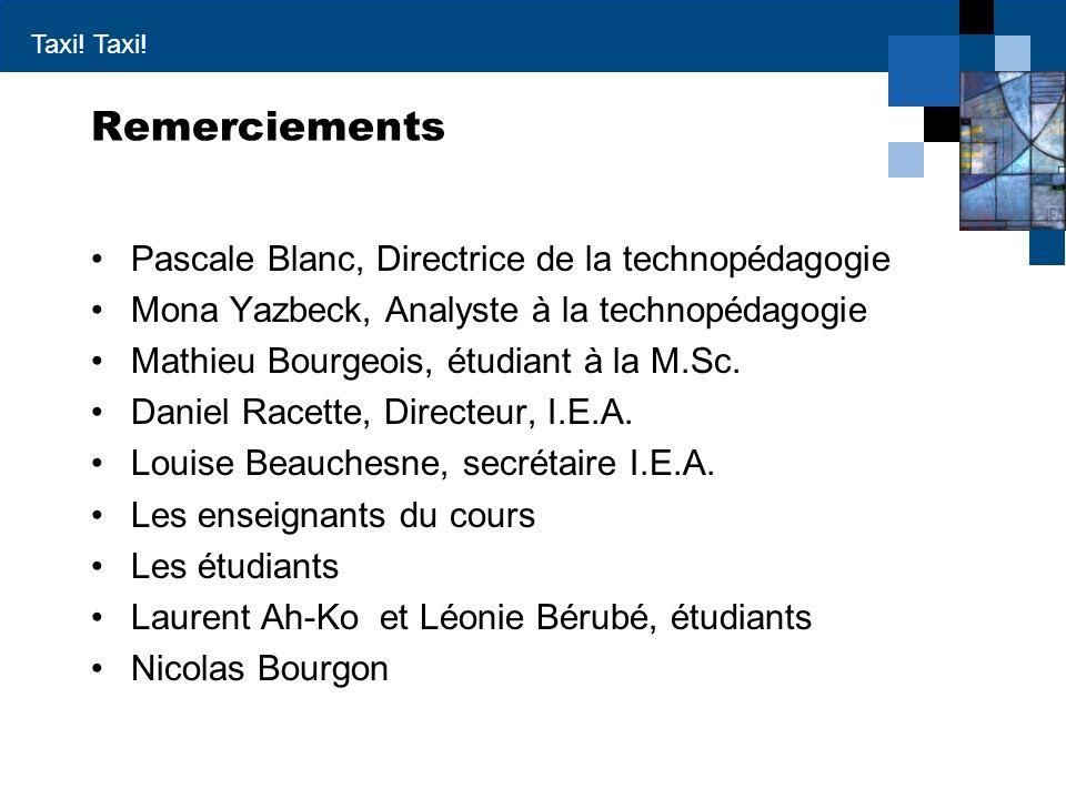 Remerciements Pascale Blanc, Directrice de la technopédagogie