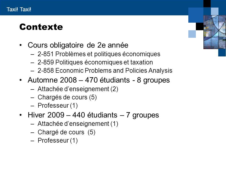 Contexte Cours obligatoire de 2e année