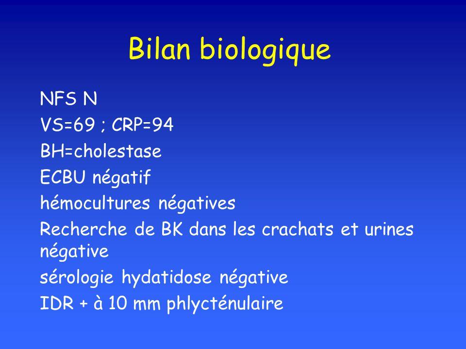 Bilan biologique NFS N VS=69 ; CRP=94 BH=cholestase ECBU négatif