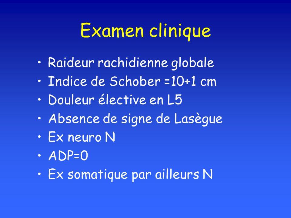 Examen clinique Raideur rachidienne globale Indice de Schober =10+1 cm