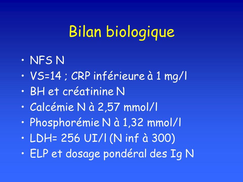 Bilan biologique NFS N VS=14 ; CRP inférieure à 1 mg/l