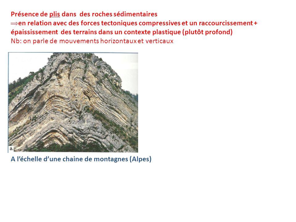Présence de plis dans des roches sédimentaires