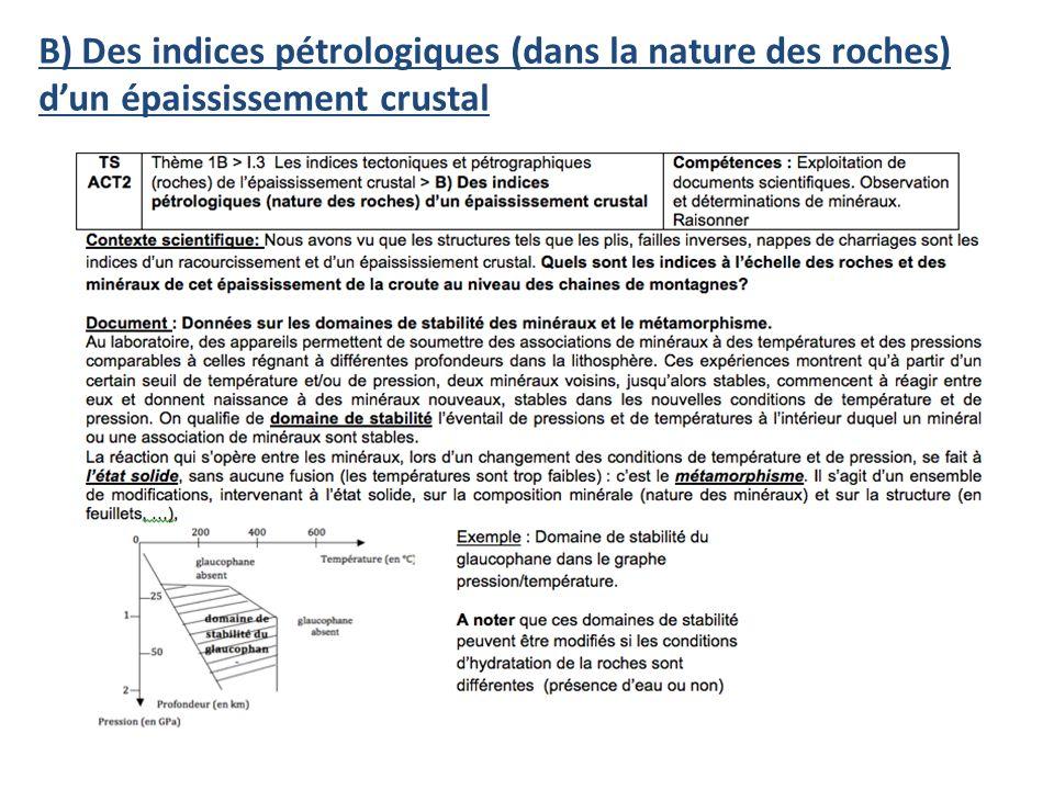 B) Des indices pétrologiques (dans la nature des roches)