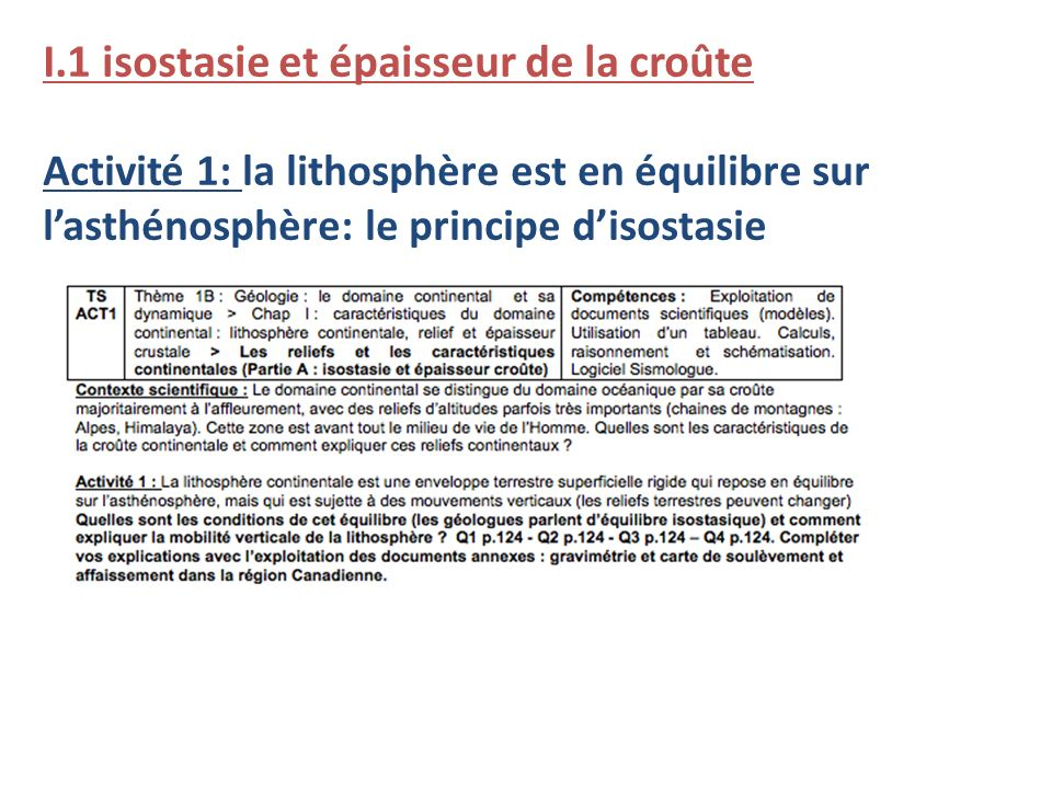 I.1 isostasie et épaisseur de la croûte