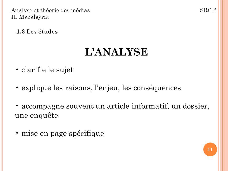 L'ANALYSE clarifie le sujet
