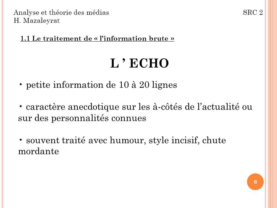 L ' ECHO petite information de 10 à 20 lignes