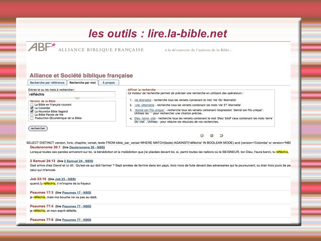 les outils : lire.la-bible.net