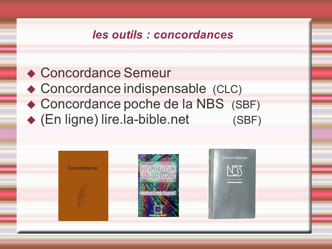 les outils : concordances