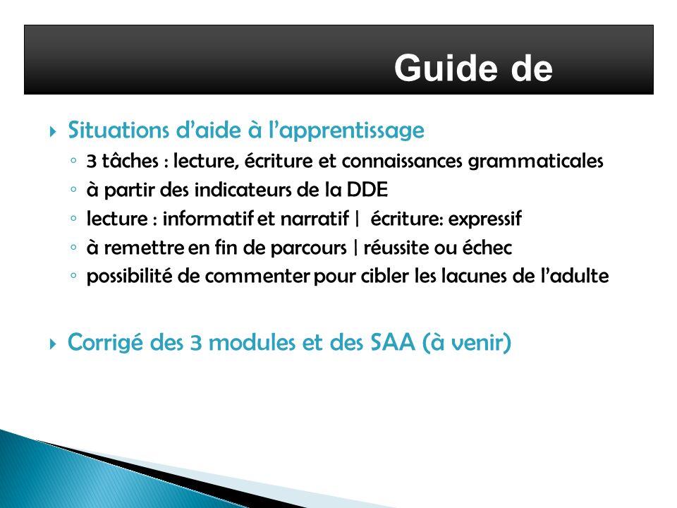 Guide de l'enseignant Situations d'aide à l'apprentissage