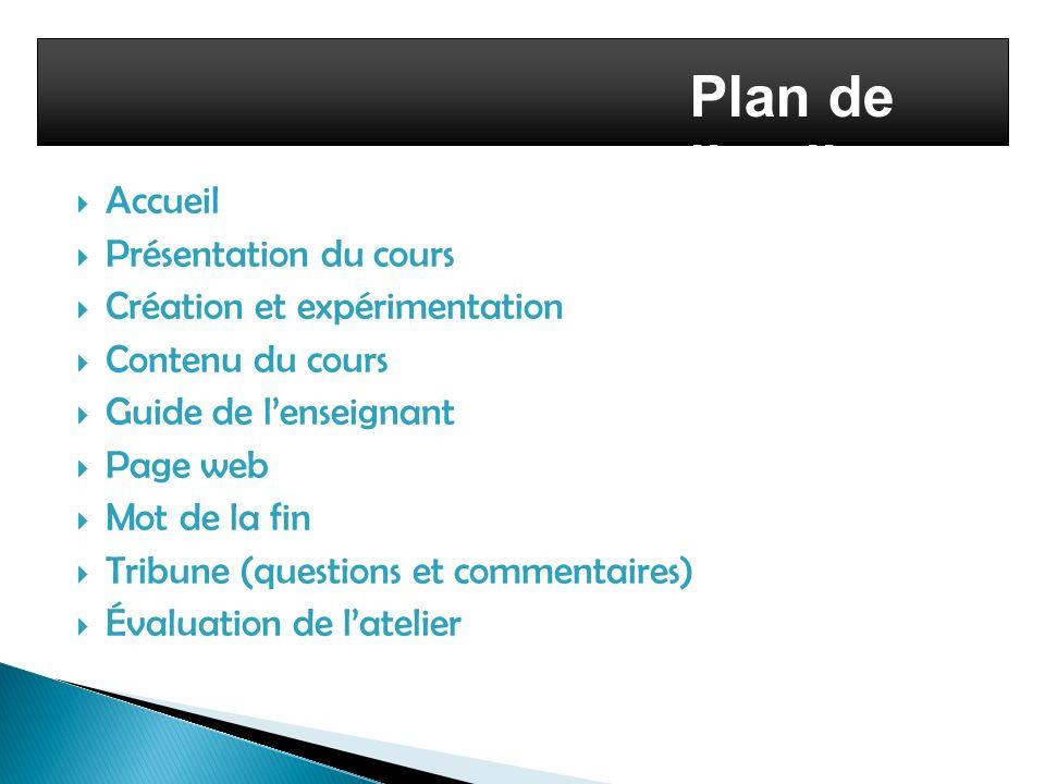 Plan de l'atelier Accueil Présentation du cours