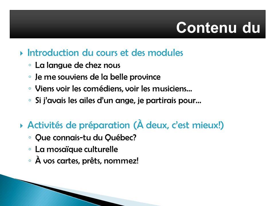 Contenu du cours Introduction du cours et des modules