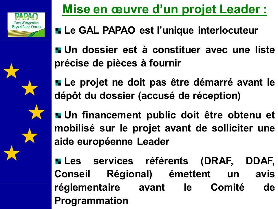 Mise en œuvre d'un projet Leader :