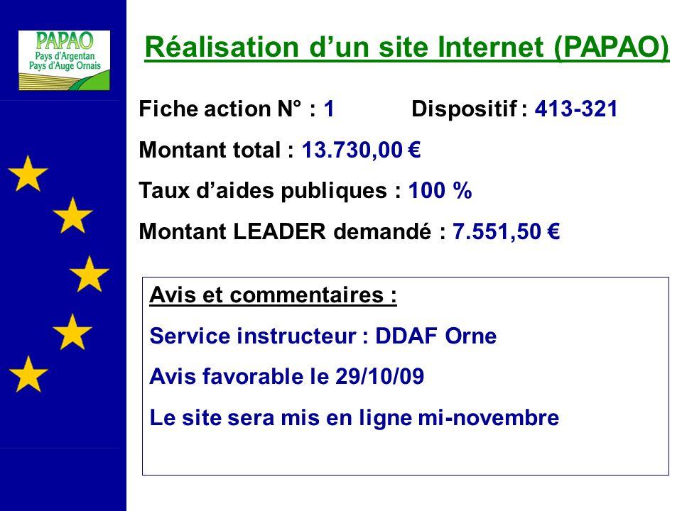 Réalisation d'un site Internet (PAPAO)