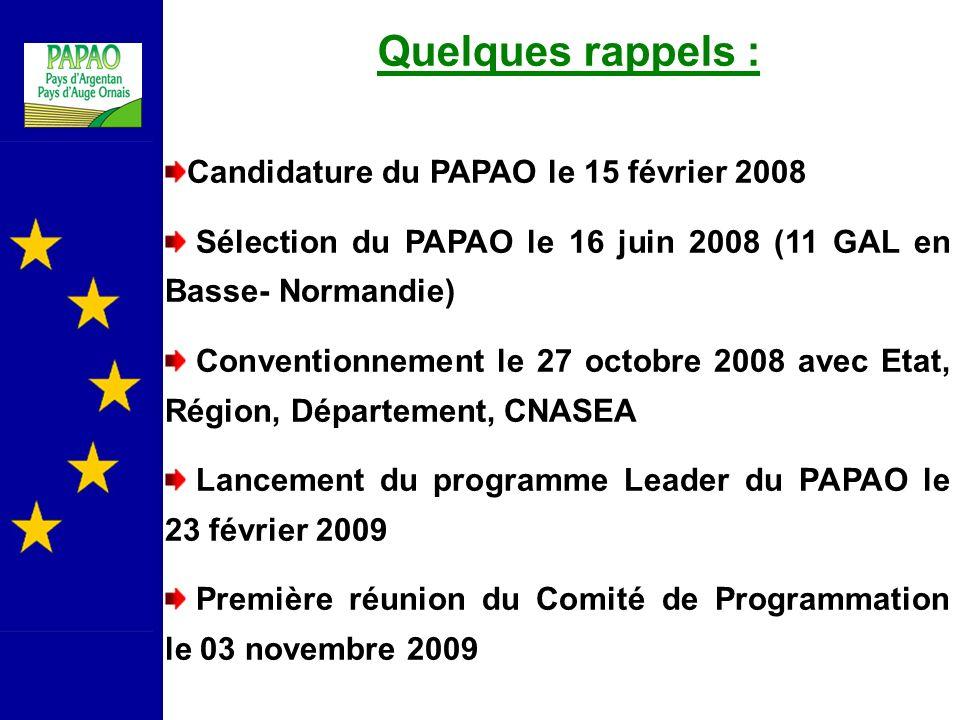 Quelques rappels : Candidature du PAPAO le 15 février 2008