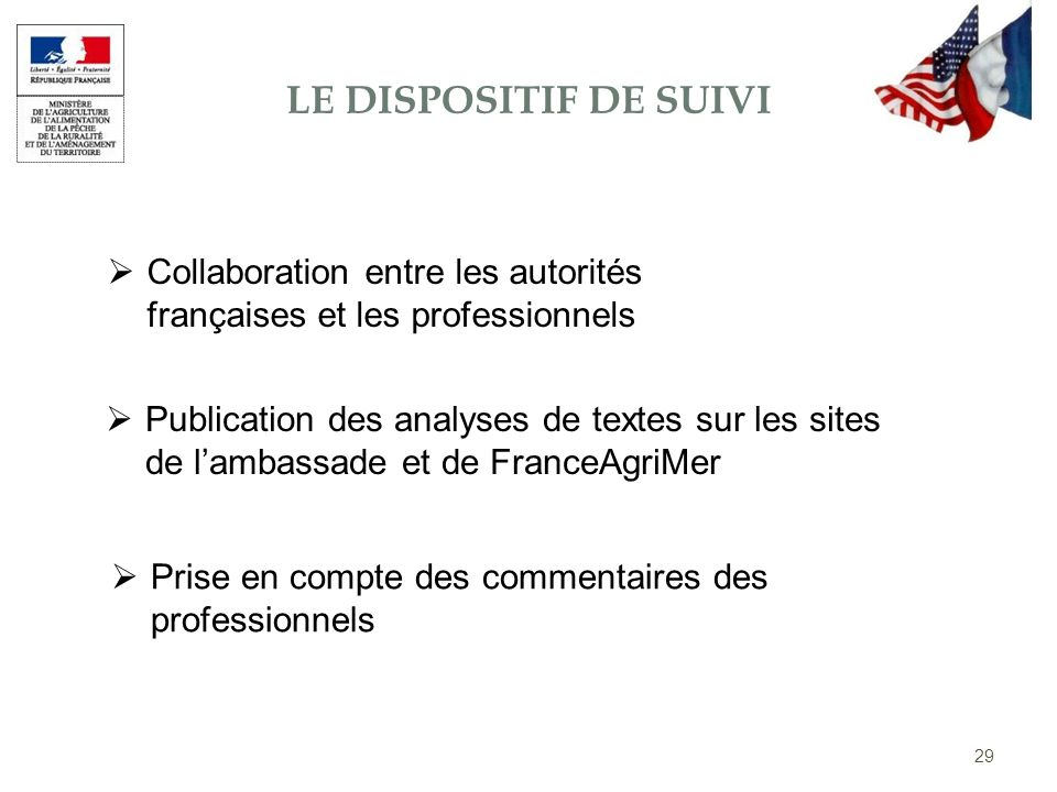 Le dispositif de suivi Collaboration entre les autorités françaises et les professionnels.