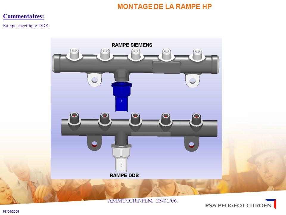 MONTAGE DE LA RAMPE HP Commentaires: AMMT/ICRT/PLM 23/01/06.