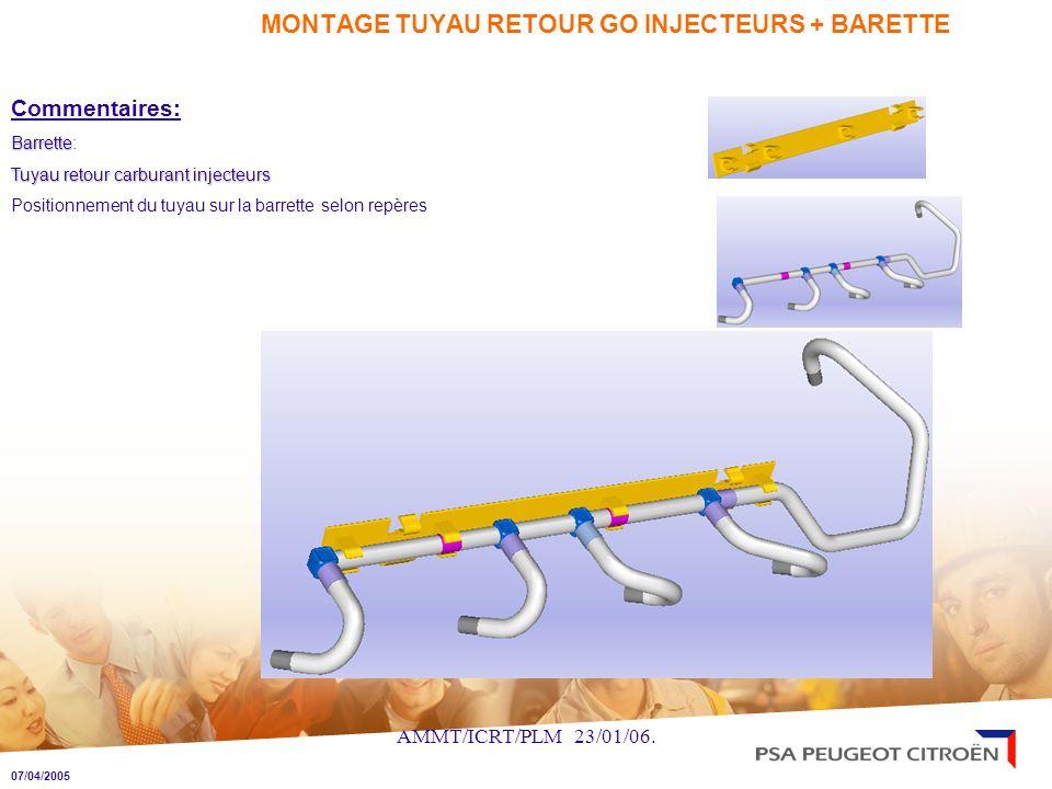 MONTAGE TUYAU RETOUR GO INJECTEURS + BARETTE