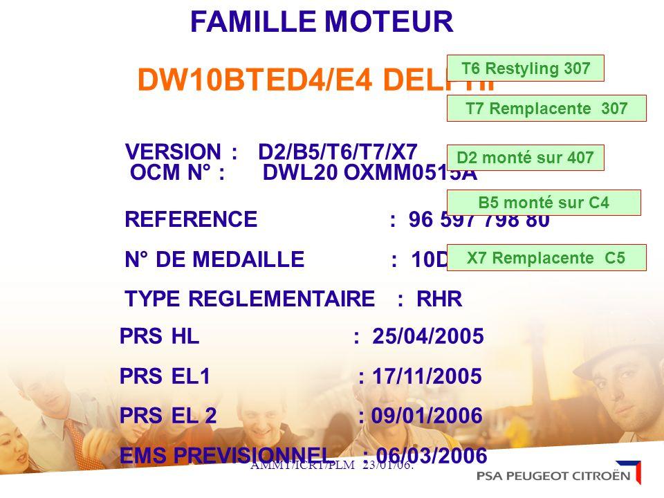 DW10BTED4/E4 DELPHI FAMILLE MOTEUR VERSION : D2/B5/T6/T7/X7