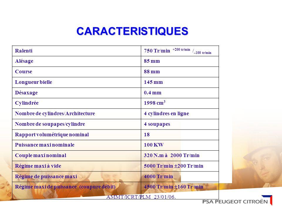 CARACTERISTIQUES Ralenti 750 Tr/min +200 tr/min /–100 tr/min Alésage