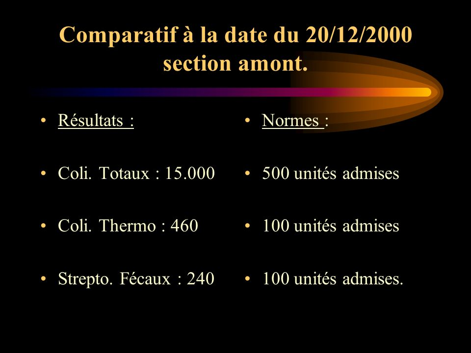 Comparatif à la date du 20/12/2000 section amont.