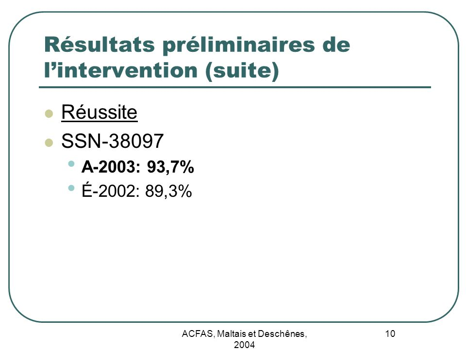 Résultats préliminaires de l'intervention (suite)