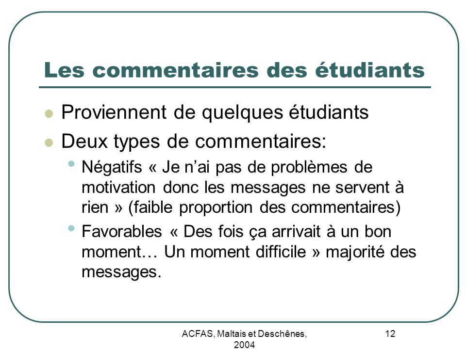 Les commentaires des étudiants