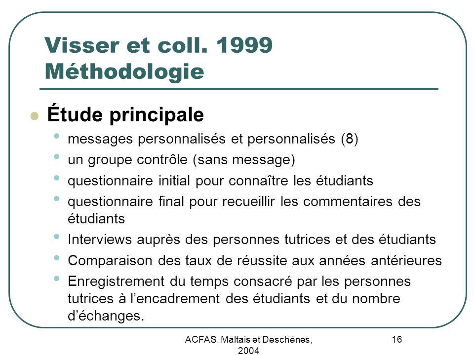 Visser et coll. 1999 Méthodologie