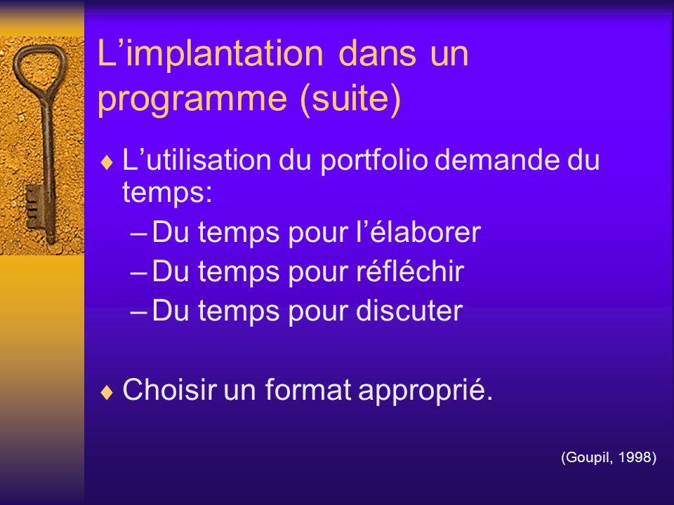 L'implantation dans un programme (suite)