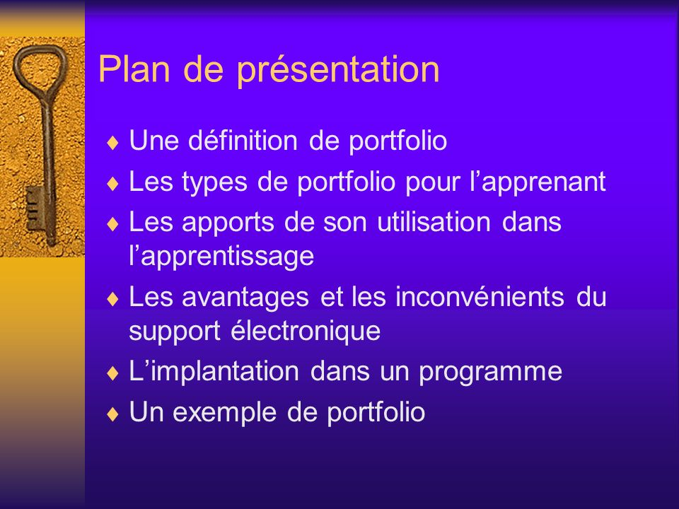 Plan de présentation Une définition de portfolio