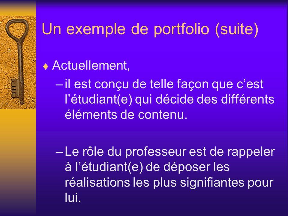Un exemple de portfolio (suite)