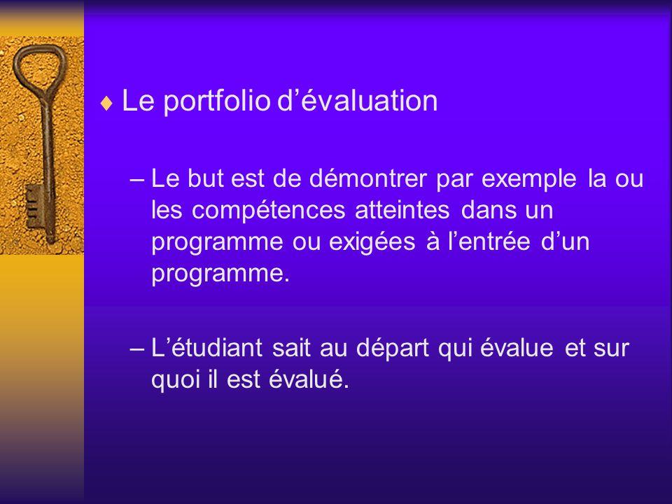 Le portfolio d'évaluation