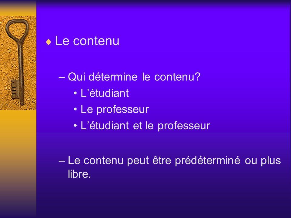 Le contenu Qui détermine le contenu L'étudiant Le professeur