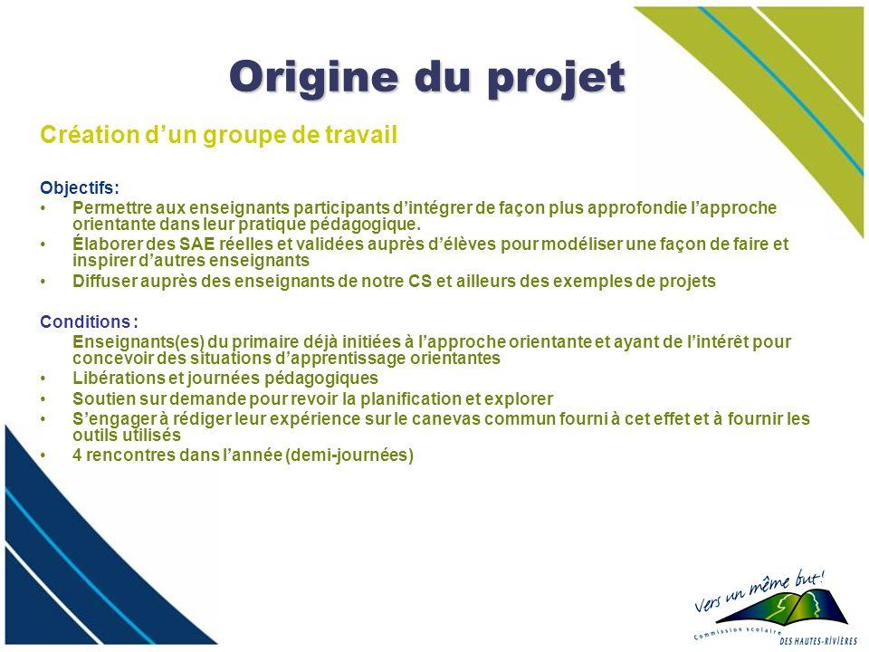 Origine du projet Création d'un groupe de travail Objectifs: