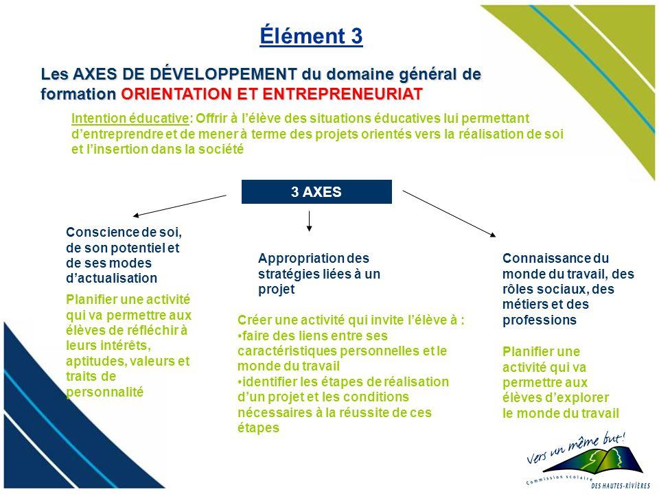 Élément 3 Les AXES DE DÉVELOPPEMENT du domaine général de formation ORIENTATION ET ENTREPRENEURIAT.