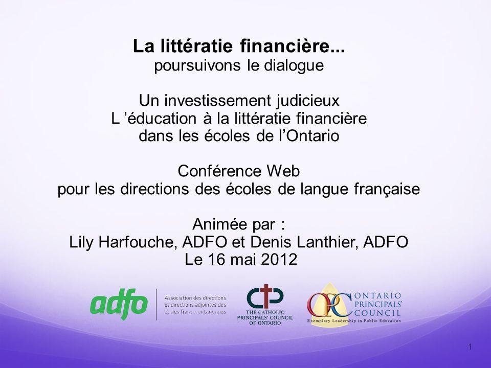 La littératie financière...