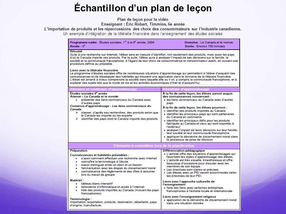 Échantillon d'un plan de leçon