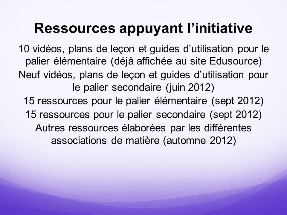 Ressources appuyant l'initiative