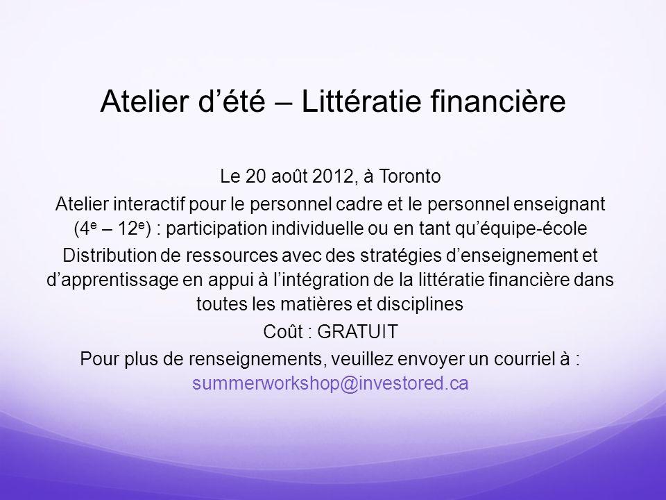 Atelier d'été – Littératie financière