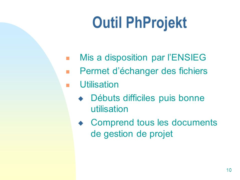Outil PhProjekt Mis a disposition par l'ENSIEG