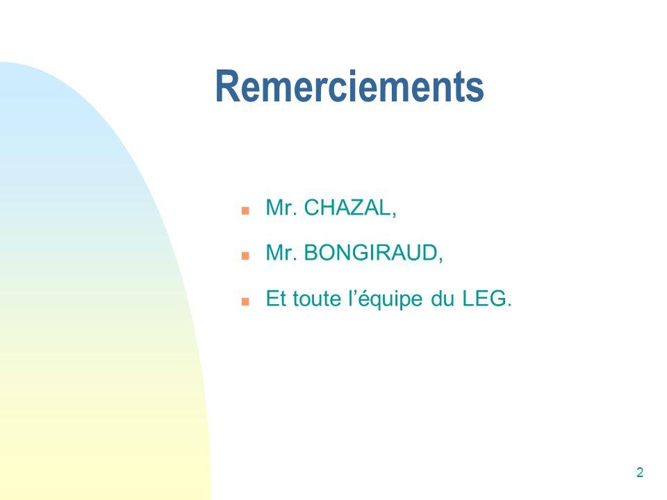 Remerciements Mr. CHAZAL, Mr. BONGIRAUD, Et toute l'équipe du LEG.