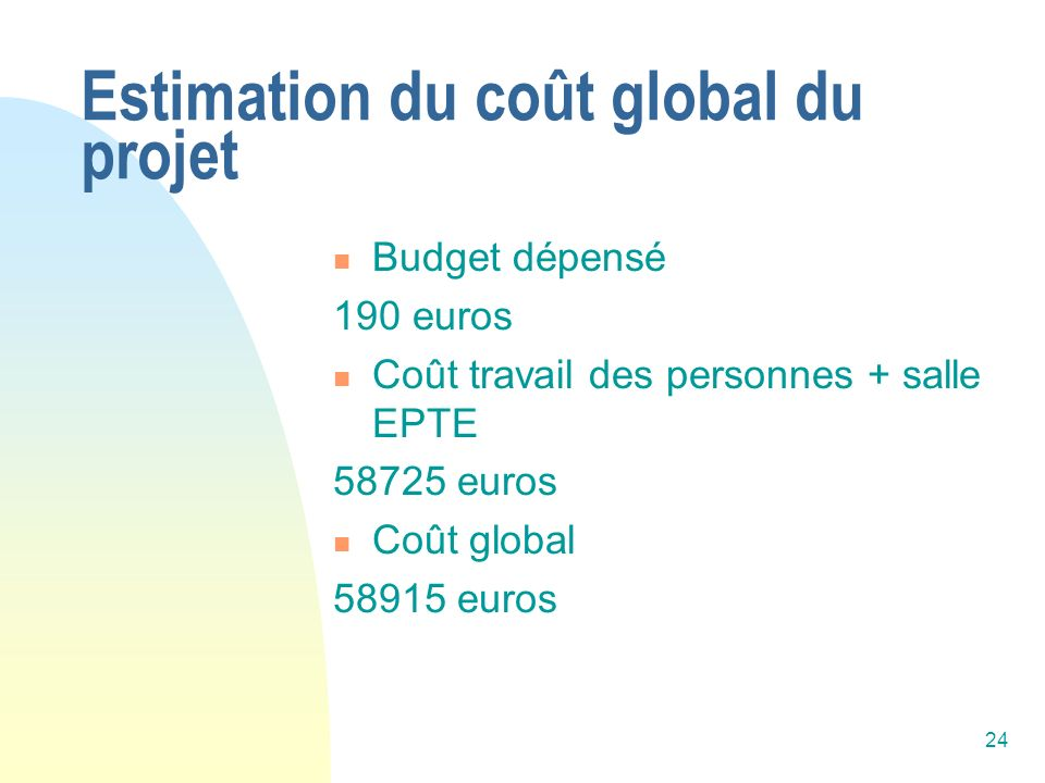 Estimation du coût global du projet
