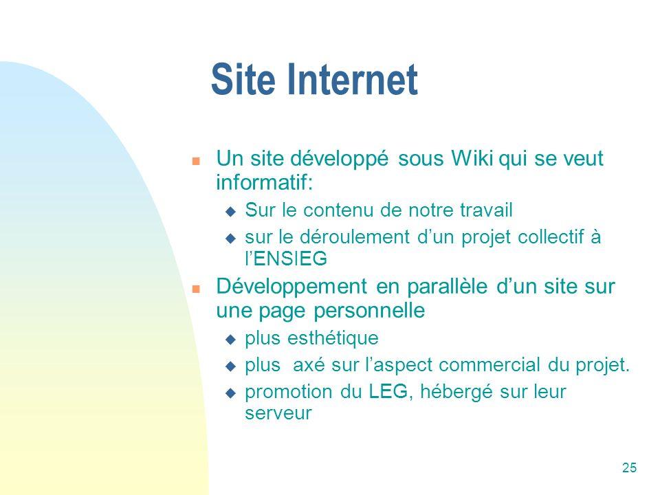 Site Internet Un site développé sous Wiki qui se veut informatif: