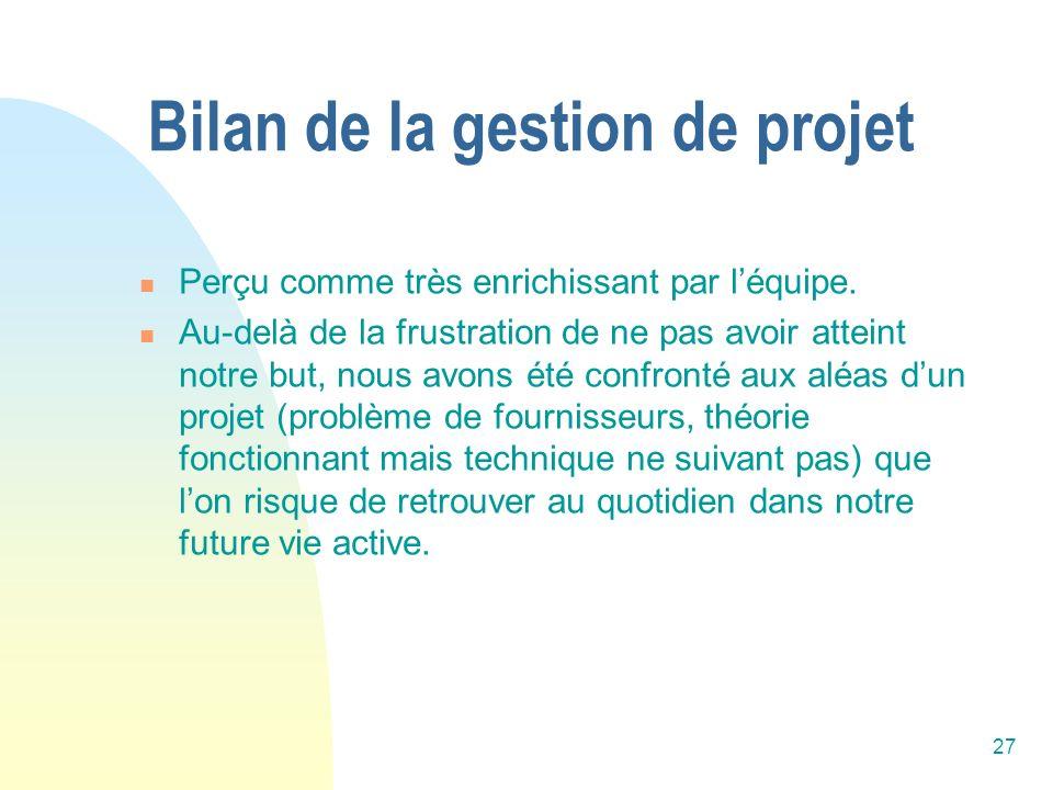 Bilan de la gestion de projet