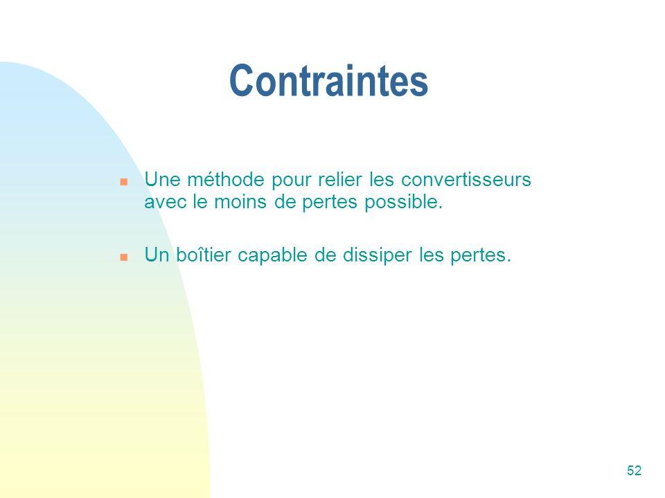 Contraintes Une méthode pour relier les convertisseurs avec le moins de pertes possible.
